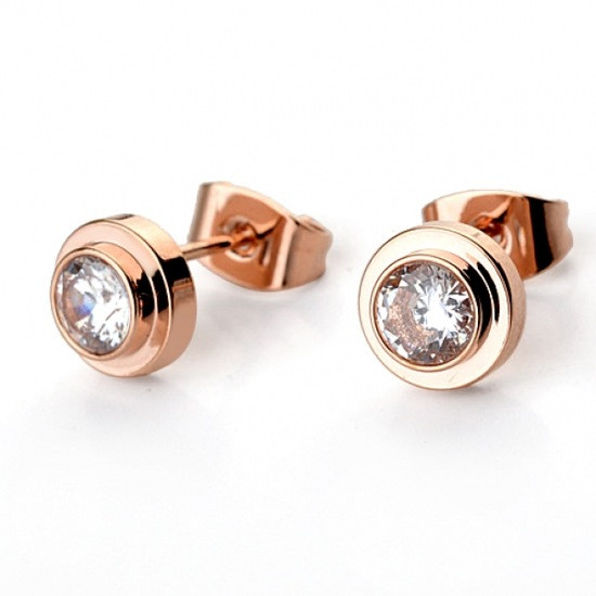 Маленькі жіночі сережки гвоздики пуссети з камінчиками класика позолота 18К