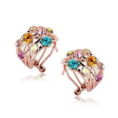 Яркие женские серьги с цветными камнями Сваровски позолота