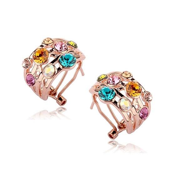Яскраві жіночі сережки з кольоровими каменями Сваровскі позолота