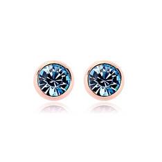Маленькие женские серьги гвоздики позолота голубые кристаллы Сваровски