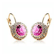 Женские классические серьги с розовыми камнями Сваровски позолота 18К