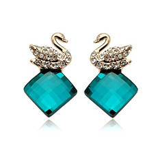 Серьги женские оригинальные зеленые камни Сваровски Лебеди позолота 18К