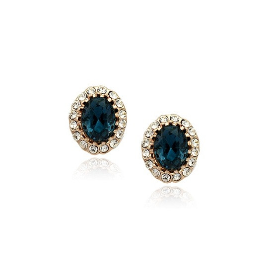Сережки жіночі пуссети з синіми каменями Сваровскі діловий стиль позолота 18К