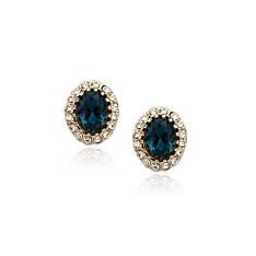 Серьги женские пусеты с синими камнями Сваровски деловой стиль позолота 18К