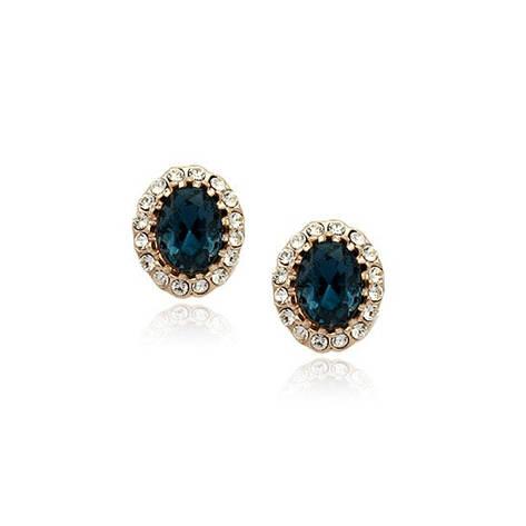 Серьги женские пусеты с синими камнями Сваровски деловой стиль позолота 18К, фото 2