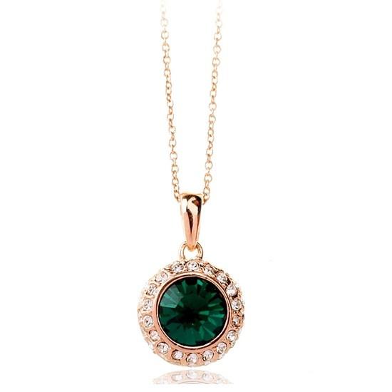 """Колье позолота """"Альфа III"""" женский стильный кулон зеленный кристалл Сваровски"""