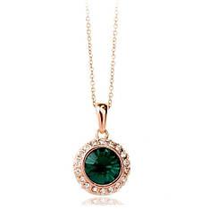 """Кольє позолота """"Альфа III"""" жіночий стильний кулон зелений кристал Swarovski"""