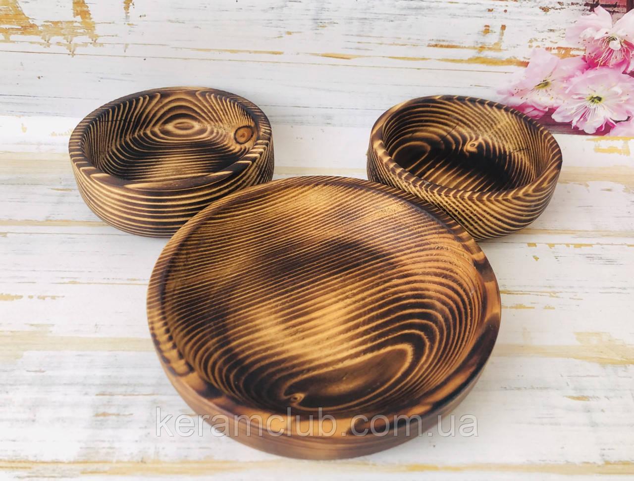 Набор деревянных тарелок из натурального дерева 3 предмета