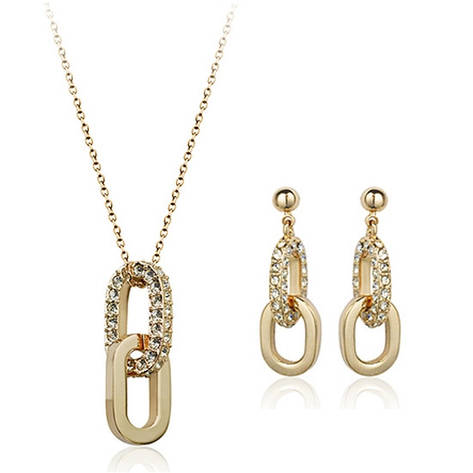 Жіночий набір біжутерії (кулон, сережки) Ланки ланцюга позолота, фото 2