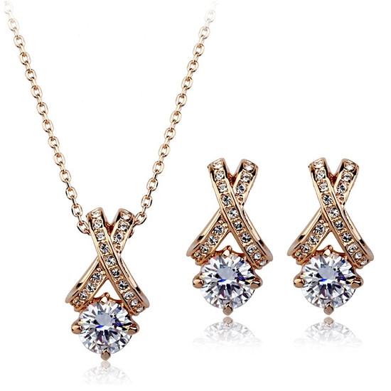 Женский набор бижутерии (кулон, серьги) имитация бриллианта позолота
