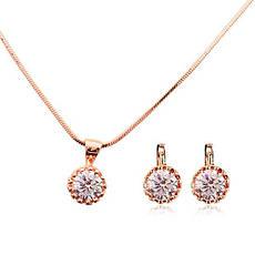 Класичний жіночий набір біжутерії (кольє, сережки) з прозорими каменями (імітація діаманта) позолота, фото 3