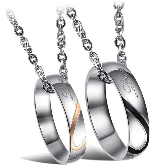 """Парні кулони кільця для двох закоханих половинки серця медична сталь гравірування """"Справжня любов"""""""