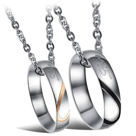 """Парные кулоны кольца для двоих влюбленных половинки сердца медицинская сталь гравировка """"Настоящая любовь"""", фото 2"""