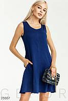 Синее платье а-силуэта с карманами S,M,L,XL