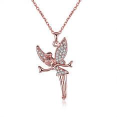 """Кольє """"Дінь Дінь"""" кулон оригінальний жіночий позолочений ангел кристали Сваровскі"""