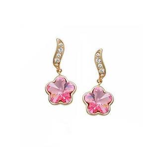 Сережки у вигляді квітки жіночі рожеві кристали Сваровскі позолота, фото 2
