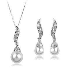 Жіночий набір ювелірної біжутерії (кольє, сережки) з перлами біла позолота