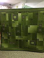 Ковровая дорожка зеленая в серый квадрат 3 м