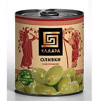 Зеленые оливки с косточкой, калибр Мамонт 850 мл