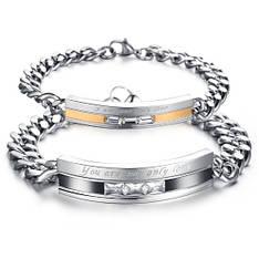 Парні браслети для двох закоханих ланцюг медична сталь камені цирконій гравірування