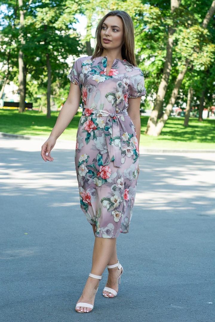 Платье летнее свободное с поясом ниже колена декольте капля 48-50