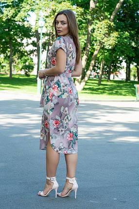 Платье летнее свободное с поясом ниже колена декольте капля 48-50, фото 2