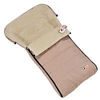 Детский зимний конверт-чехол For kids Mini на овчине в коляску санки Бежевый k001bej, КОД: 1317156