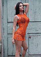 Женская ажурная пляжная туника оранжевого цвета, фото 1