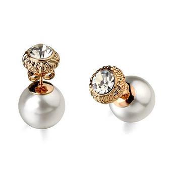 """Сережки-гвоздики пусети жіночі з білим перлами """"She"""" позолота 18К, фото 2"""