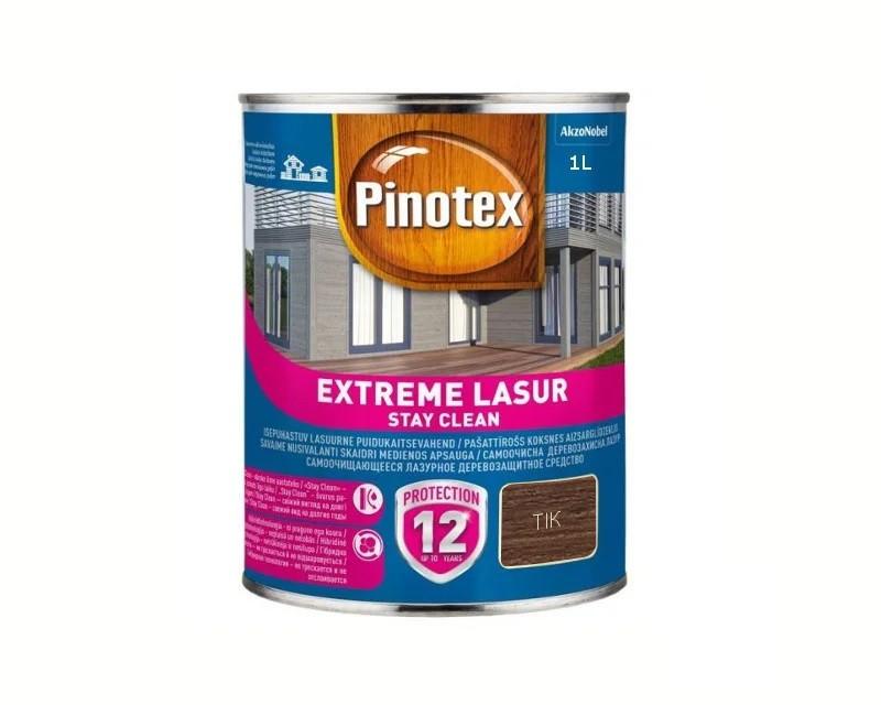 Лазурь-лак антисептический PINOTEX EXTREME LASUR для древесины полуглянцевый тик 1л
