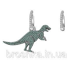 Асимметричные серьги крупный зеленый динозавр бижутерия