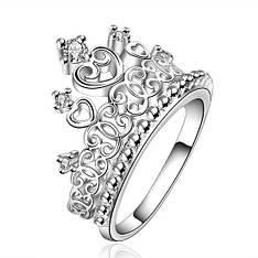 """Кольцо женское корона покрытое серебром """"Баловница"""" камень цирконий"""