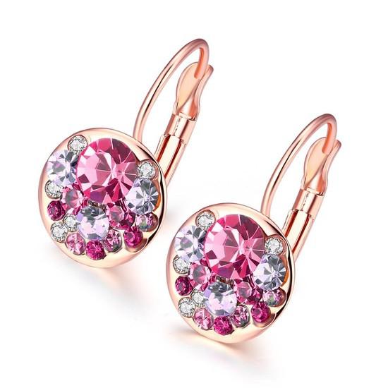 Сережки маленькие с розовыми камешками позолота