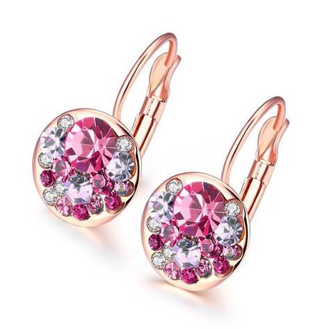 Сережки маленькие с розовыми камешками позолота, фото 2