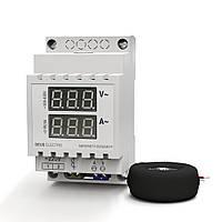 Амперметр-вольтметр однофазный переменного тока цифровой на DIN-рейку АВ1-100 (0-100А, 100-420В)