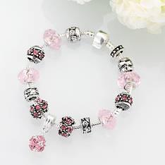 """Браслет в стиле Пандора """"My Shine"""" розовые кристаллы"""