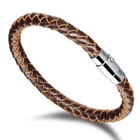 """Кожаный плетеный браслет """"Extravaganza"""" коричневый жгут, фото 2"""