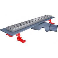 Трап для душа 60см нержавеющая рамка сухой  затвор 54мм монтажная висота поворотный выход VLD-565, КОД: 1461521