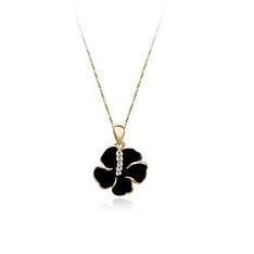 Кольє чорний Квітка Ванесси кулон жіночий з кристалами Сваровські покритий золотом 18К