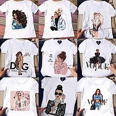 Хит лета 2021 крутая белая футболка с модными принтами брендов новые рисунки