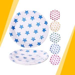 Праздничные одноразовые бумажные тарелки