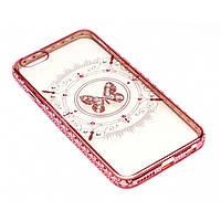 Чехол на iPhone 6/6s силиконовый прозрачный, бабочка с камушками, с бампером под металл в камушках COV-059