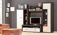 Гостиная стенка Мебель Сервис Неон 1 218х300х60.5 см Венге темный   Белый глянец 2534215, КОД: 1769341