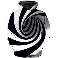 Подростковая толстовка 3D Абстракция 3XL Черно-белая 607107321395, КОД: 1716924