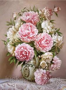 Алмазная вышивка ваза с розовыми пионами 20х30 см, полная выкладка, квадратные стразы