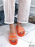 Женские шлепанцы шлепки Super Girl, резиновые, верх прозрачный матовый с надписью, фото 4