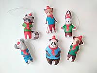 Набір ялинкових іграшок Звірята в шарфах 6 шт. SUN2419, КОД: 258222
