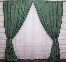"Комплект готовых светонепроницаемых штор,коллекция блэкаут ""Лён Короед"", цвет зелёный .Код 484ш (А)30-230, фото 3"