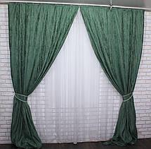 "Комплект готовых светонепроницаемых штор,коллекция блэкаут ""Лён Короед"", цвет зелёный .Код 484ш (А)30-230, фото 2"