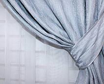"""Комплект готовых светонепроницаемых штор,коллекция блэкаут """"Лён Короед"""", цвет серо-голубой .Код 485ш(Б) 30-235, фото 3"""